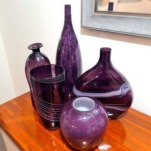 Home Decor Purple Glass Vases